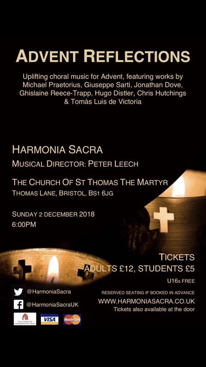 Harmonia Sacra concert, 6pm, 2nd December, Church of St Thomas The Martyr, Bristol, BS1 6JG